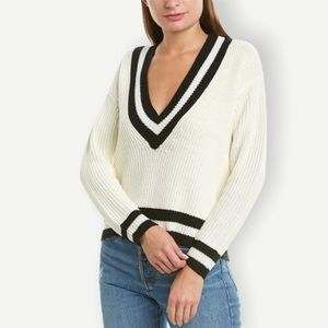NWT BISHOP + YOUNG Sz M Varsity Neck Sweater IVORY
